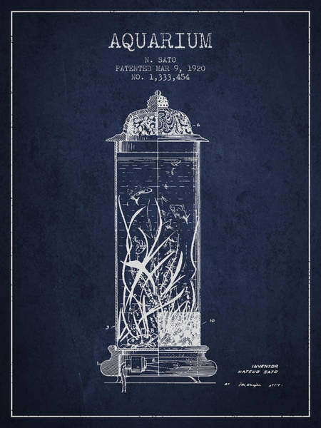 Wall Art - Digital Art - 1902 Aquarium Patent - Navy Blue by Aged Pixel