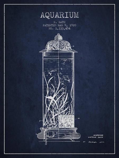 Aquarium Digital Art - 1902 Aquarium Patent - Navy Blue by Aged Pixel