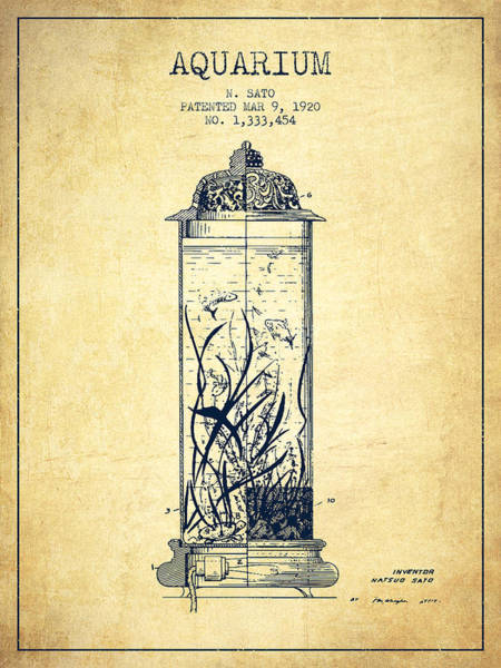 Wall Art - Digital Art - 1902 Aquarium Patent - Vintage by Aged Pixel