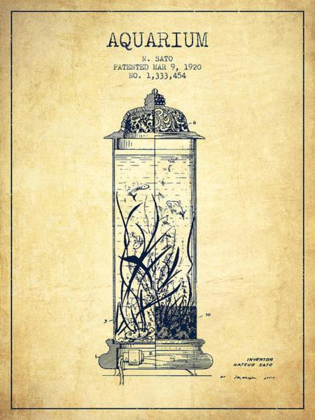 Aquarium Digital Art - 1902 Aquarium Patent - Vintage by Aged Pixel