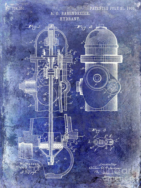Wall Art - Photograph - 1903 Fire Hydrant Patent Blue by Jon Neidert