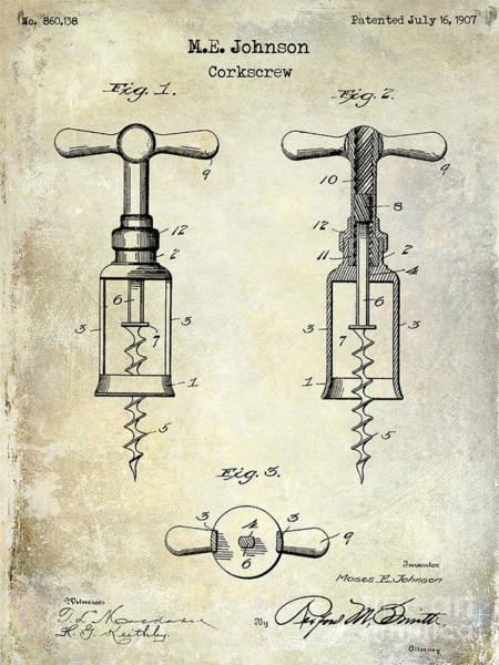 Corkscrew Wall Art - Photograph - 1907 Corkscrew Patent  by Jon Neidert