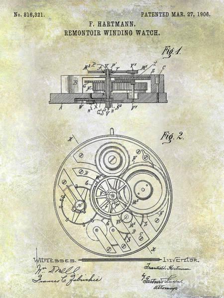 Pocket Photograph - 1908 Pocket Watch Patent  by Jon Neidert