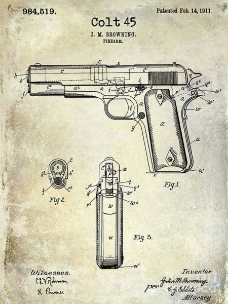 Colt Photograph - 1911 Colt 45 Firearm Patent by Jon Neidert