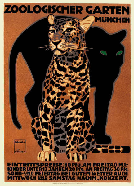 Fauna Digital Art - 1912 Ludwig Hohlwein Leopard Munich Zoo Poster by Retro Graphics