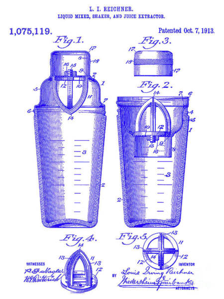 Wall Art - Photograph - 1913 Cocktail Shaker Patent Blueprint by Jon Neidert