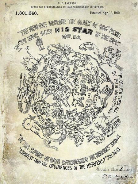 Pisces Photograph - 1919 Astrology Patent by Jon Neidert