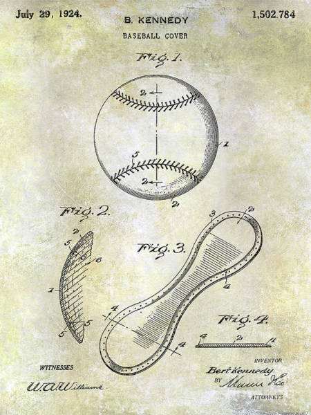 Wall Art - Photograph - 1924 Baseball Patent by Jon Neidert