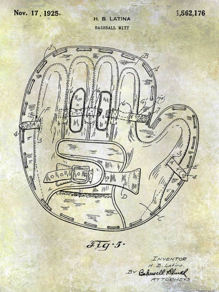 Wall Art - Photograph - 1925 Baseball Glove Patent by Jon Neidert