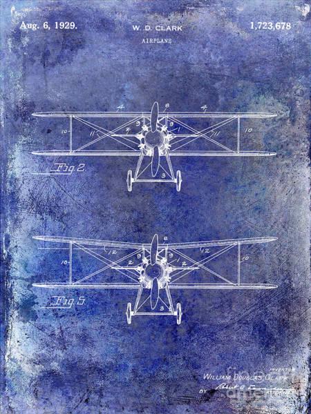Vintage Airplane Photograph - 1929 Airplane Patent Blue by Jon Neidert