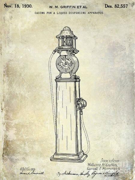 Oil Pump Photograph - 1930 Gas Pump Patent  by Jon Neidert