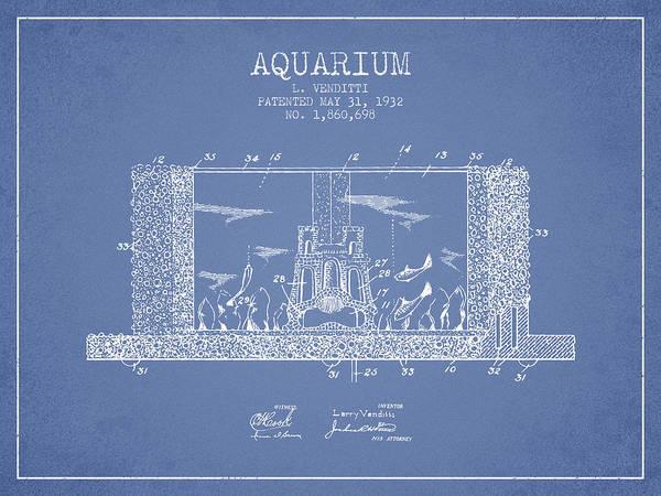 Aquarium Digital Art - 1932 Aquarium Patent - Vintage by Aged Pixel