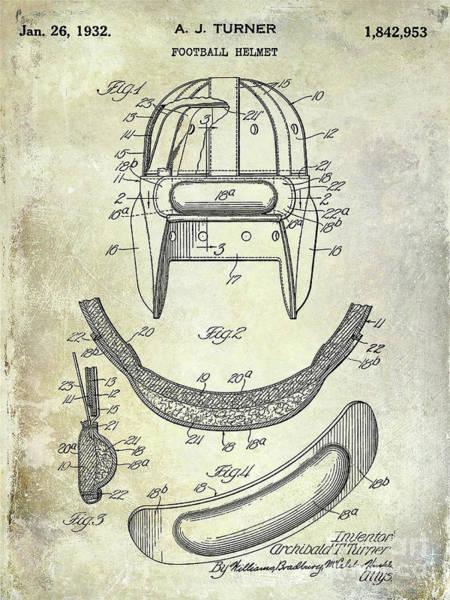 Dallas Cowboys Photograph - 1932 Football Helmet Patent by Jon Neidert