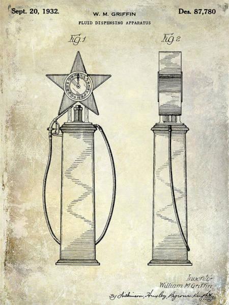 Oil Pump Photograph - 1932 Gas Pump Patent  by Jon Neidert