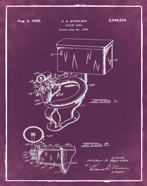 Wall Art - Photograph - 1936 Toilet Bowl Patent Chalk by Bill Cannon