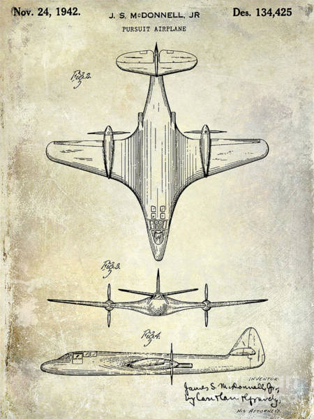 Vintage Airplane Photograph - 1942 Pursuit Airplane Patent by Jon Neidert