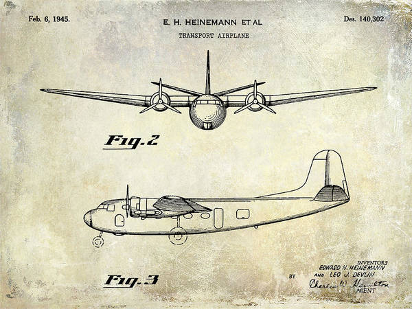 Vintage Airplane Photograph - 1945 Transport Airplane Patent  by Jon Neidert