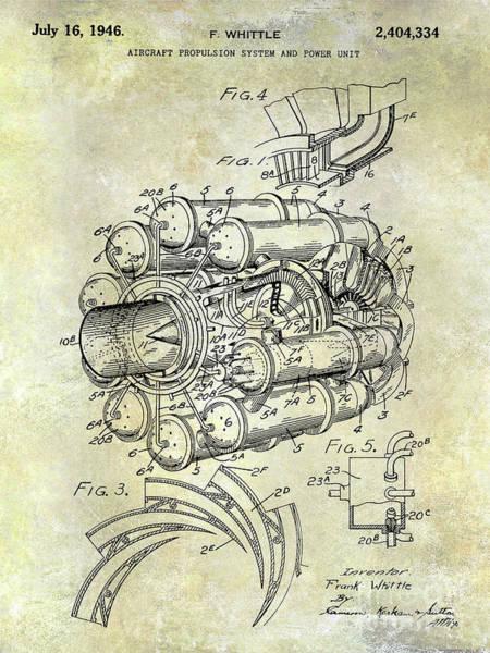 Fighter Jets Photograph - 1946 Jet Engine Patent by Jon Neidert