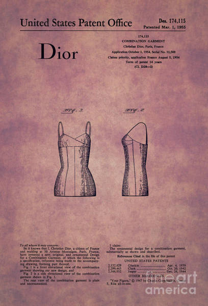 Dior Digital Art - 1955 Dior Combination Garment Design 1 by Nishanth Gopinathan