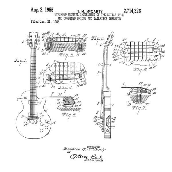 Wall Art - Photograph - 1955 Gibson Les Paul Patent by Bill Cannon