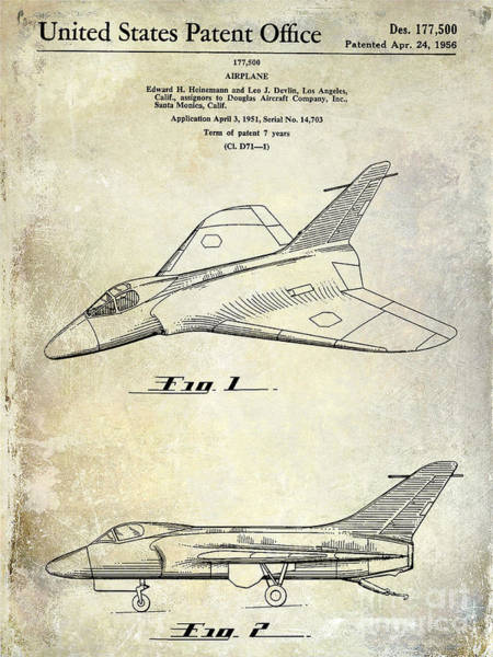 Vintage Airplane Photograph - 1956 Jet Airplane Patent 2 Blue by Jon Neidert