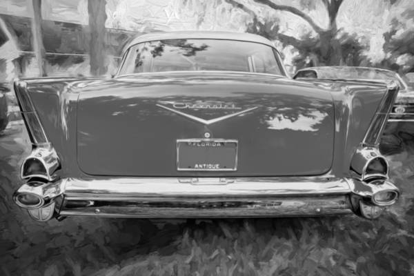 V8 Engine Photograph - 1957 Chevrolet Bel Air 283 Painted Bw    by Rich Franco