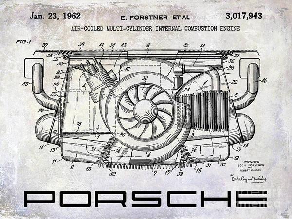 Patent Drawing Wall Art - Photograph - 1962 Porsche Engine Patent by Jon Neidert