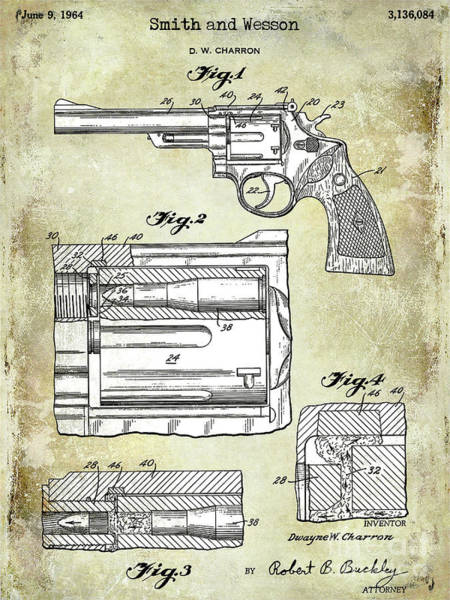 Wesson Photograph - 1964 Smith And Wesson Gun Patent Two Tone by Jon Neidert