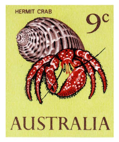 Wall Art - Digital Art - 1966 Australia Hermit Crab Postage Stamp by Retro Graphics