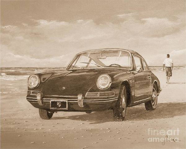 Painting - 1967 Porsche 912 In Sepia by Sinisa Saratlic
