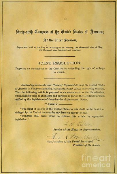 Vote Wall Art - Photograph - 19th Amendment, 1919 by Granger