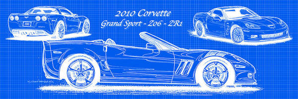 Drawing - 2010 Corvette Grand Sport - Z06 - Zr1 Reverse Blueprint by K Scott Teeters