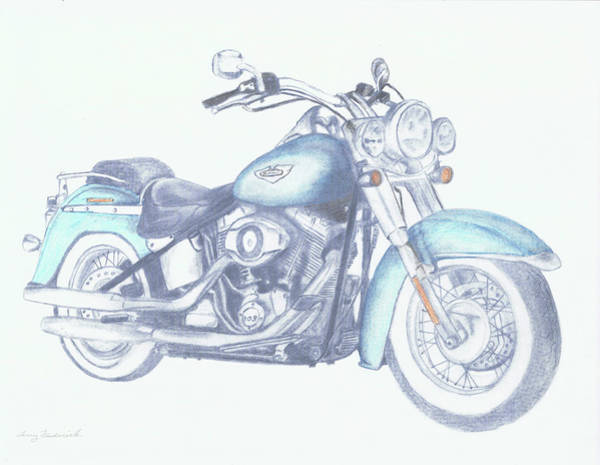 Drawing - 2015 Softail by Terry Frederick