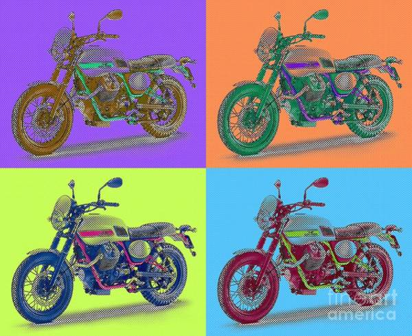 Warhol Painting - 2016 Moto Guzzi V7ii Stornello - Warhol Style by Drawspots Illustrations