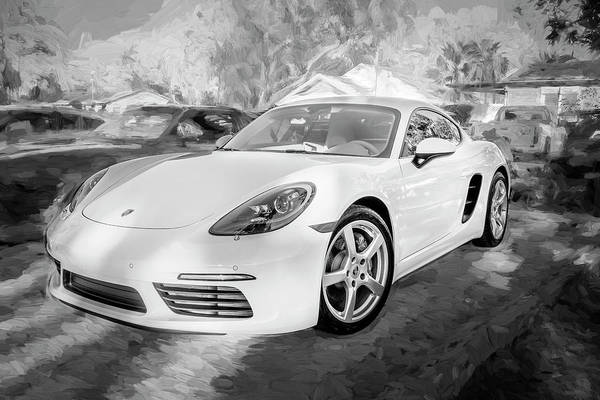 Wall Art - Photograph - 2017 Porsche Cayman 718 S  Bw    by Rich Franco