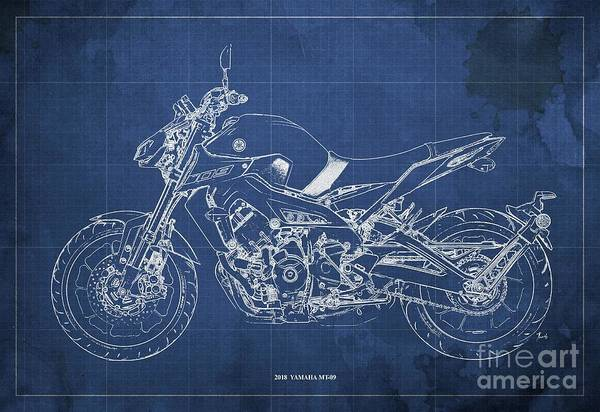 Wall Art - Digital Art - 2018 Yamaha Mt-09 Blueprint Blue Background by Drawspots Illustrations