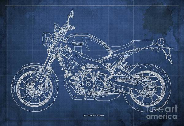 Wall Art - Digital Art - 2018 Yamaha Xsr900 Blueprint, Blue Background by Drawspots Illustrations