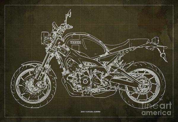 Wall Art - Digital Art - 2018 Yamaha Xsr900 by Drawspots Illustrations