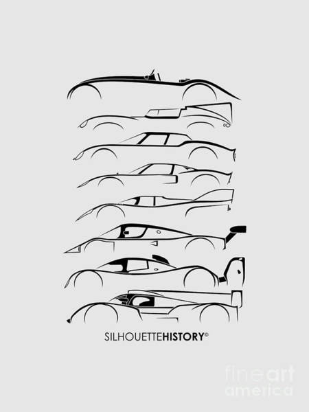 Le Mans 24 Wall Art - Digital Art - 24 Hours Race Cars Silhouettehistory by Gabor Vida