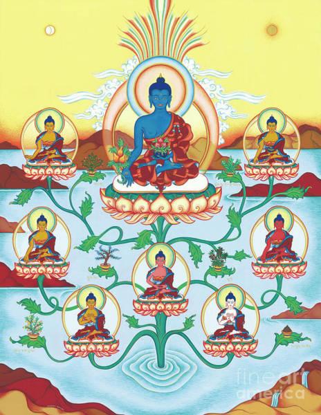 Guru Painting - 8 Medicine Buddhas by Carmen Mensink