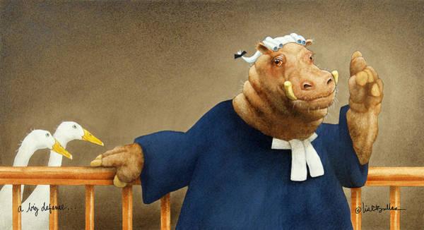 Hippopotamus Painting - A Big Defense... by Will Bullas