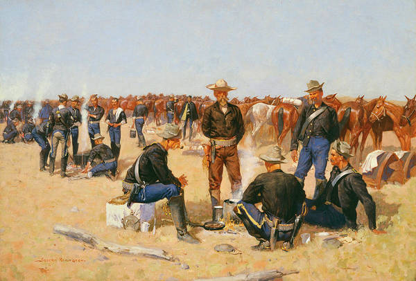 Blanket Painting - A Cavalryman's Breakfast On The Plains by Frederic Remington