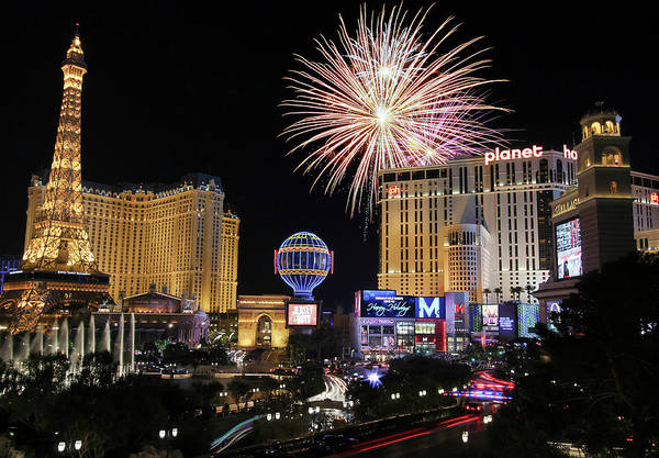 Wall Art - Digital Art - A Celebration At Bellagio And Las Vegas Blvd, Nevada, Usa by Derrick Neill