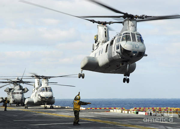 Flight Deck Photograph - A Ch-46e Sea Knight Helicopter Takes by Stocktrek Images