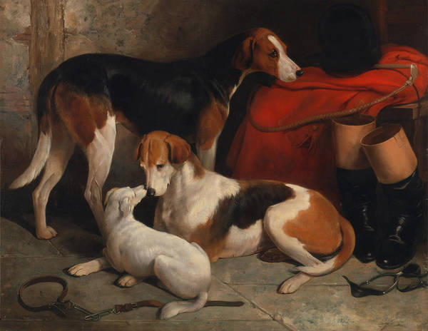 Artistry Painting - A Couple Of Foxhounds With A Terrier - The Property Of Lord Henry Bentinck  by Mountain Dreams
