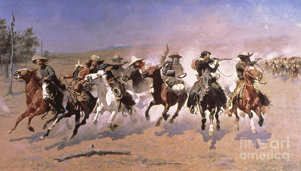 Territory Painting - A Dash For The Timber by Frederic Remington