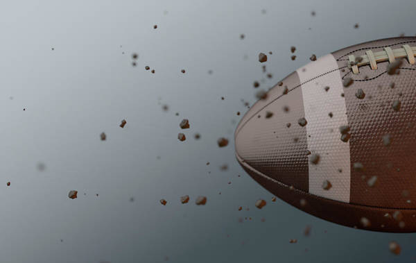 Wake Digital Art - A Dirty Football Ball Caught In Slow Motion Flying Through The Air Scattering Dirt Particles In Its  by Allan Swart