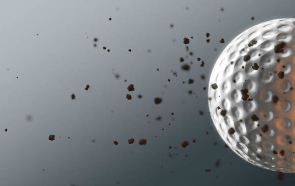 Wake Up Digital Art - A Dirty Golf Ball Caught In Slow Motion Flying Through The Air Scattering Dirt Particles In Its Wake by Allan Swart