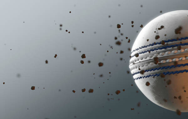 Wake Digital Art - A Dirty White Leather Cricket Ball Caught In Slow Motion Flying Through The Air Scattering Dirt Part by Allan Swart