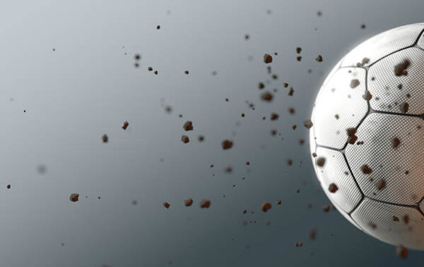 Wake Digital Art - A Dirty White Panelled Soccer Ball Caught In Slow Motion Flying Through The Air Scattering Dirt Part by Allan Swart